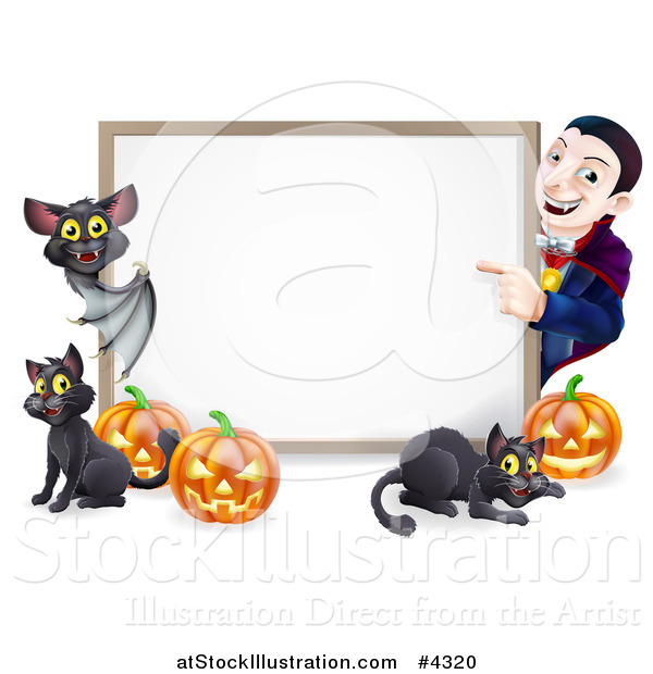 Vector Illustration of a Happy Vampire with a Bat Cats and Halloween Pumpkins Around a White Sign