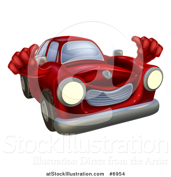 Vector Illustration of a Happy Vintage Red Car Giving Two Thumbs up