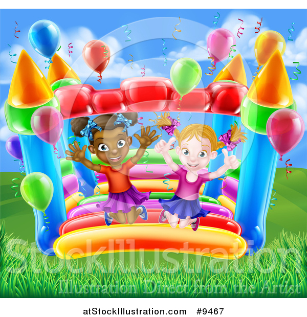 Vector Illustration of a Happy White and Black Girls Jumping on a Bouncy House Castle in a Park