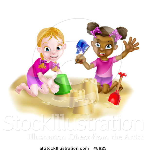 Vector Illustration of a Happy White and Black Girls Playing and Making Sand Castles on a Beach