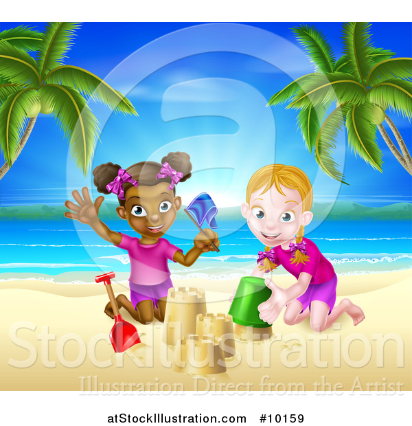 Vector Illustration of a Happy White and Black Girls Playing and Making Sand Castles on a Tropical Beach