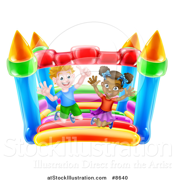 Vector Illustration of a Happy White Boy and Black Girl Jumping on a Bouncy House Castle