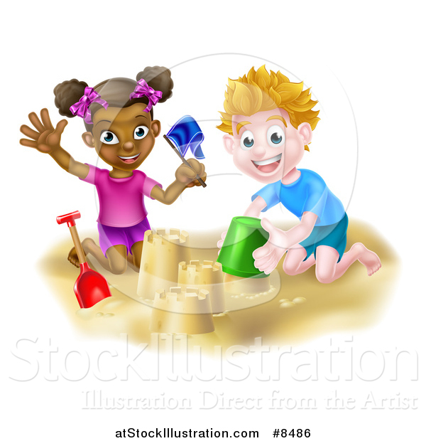 Vector Illustration of a Happy White Boy and Black Girl Playing and Making Sand Castles on a Beach