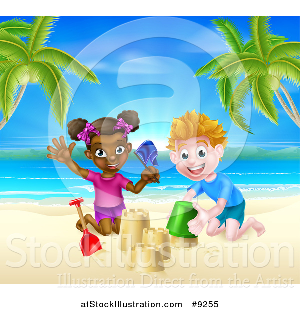Vector Illustration of a Happy White Boy and Black Girl Playing and Making Sand Castles on a Tropical Beach