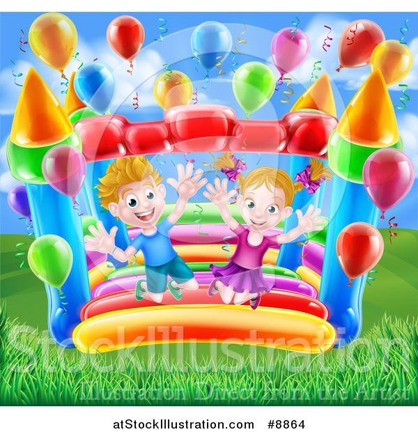Vector Illustration of a Happy White Boy and Girl Jumping on a Bouncy House Castle in a Park, with Party Balloons