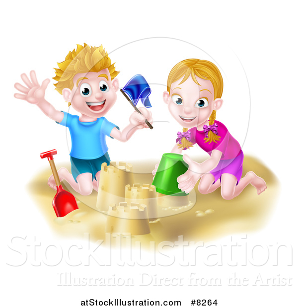 Vector Illustration of a Happy White Boy and Girl Playing and Making Sand Castles on a Beach