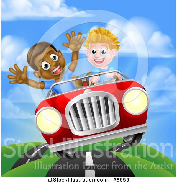 Vector Illustration of a Happy White Boy Driving a Black Boy and Catching Air in a Convertible Car