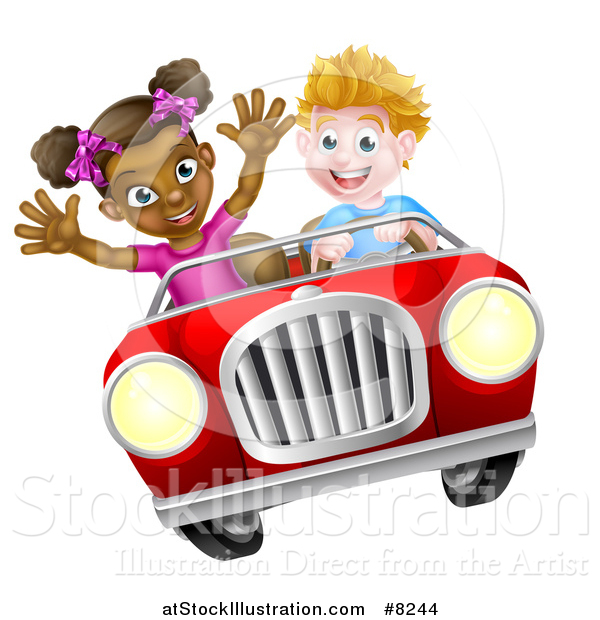 Vector Illustration of a Happy White Boy Driving a Black Girl and Catching Air in a Convertible Car