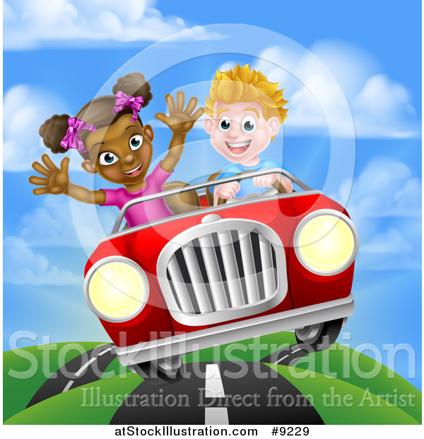 Vector Illustration of a Happy White Boy Driving a Black Girl and Catching Air in a Convertible Car on a Country Road