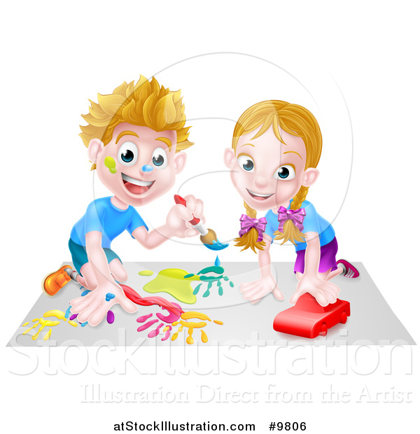 Vector Illustration of a Happy White Boy Kneeling and Painting Artwork and Girl Playing with a Toy Car