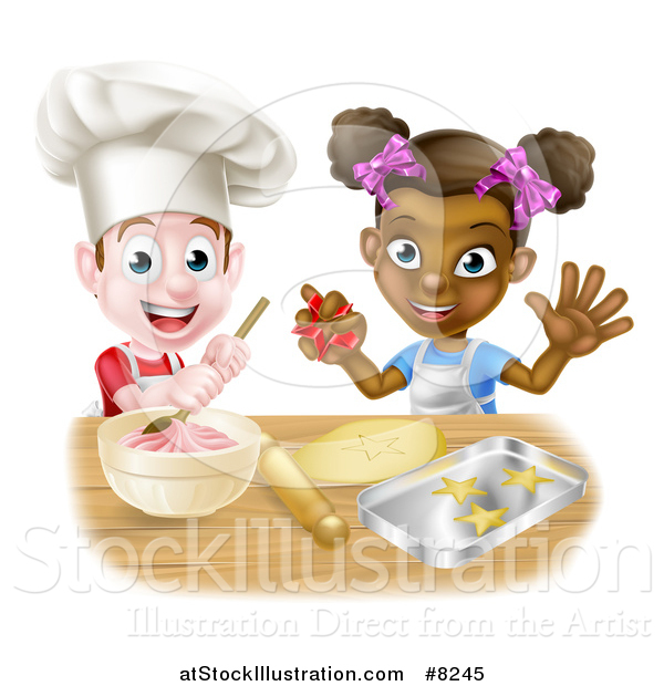 Vector Illustration of a Happy White Boy Making Frosting and Black Girl Making Cookies