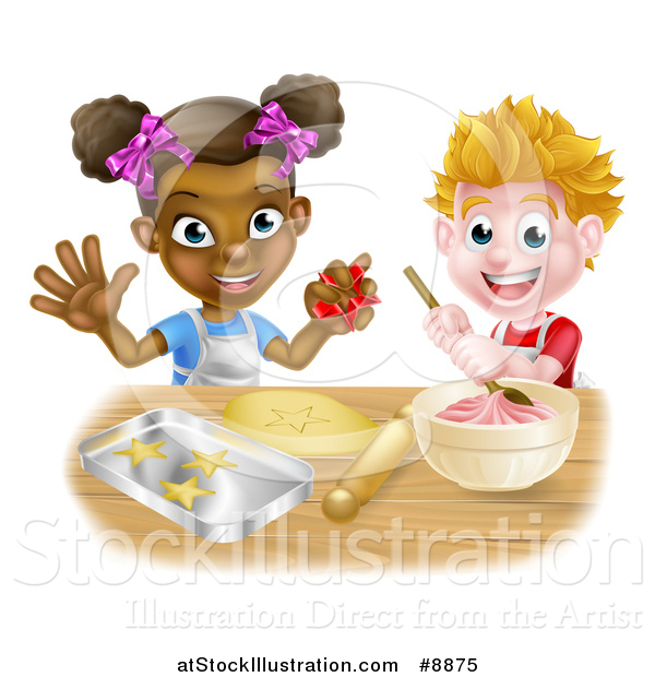 Vector Illustration of a Happy White Boy Making Frosting and Black Girl Making Star Cookies