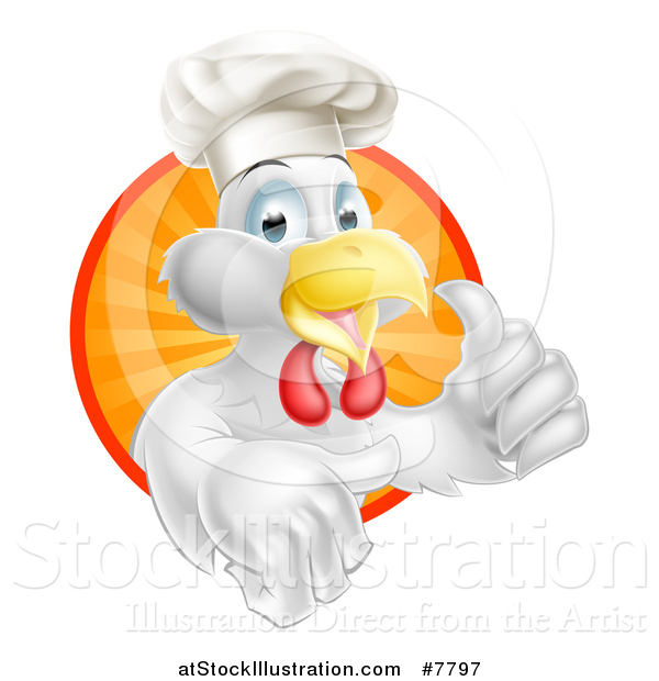 Vector Illustration of a Happy White Chef Chicken Giving a Thumb up and Emerging from a Circle of Sun Rays