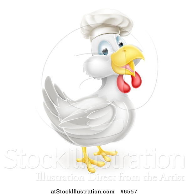 Vector Illustration of a Happy White Chicken Chef Facing Right