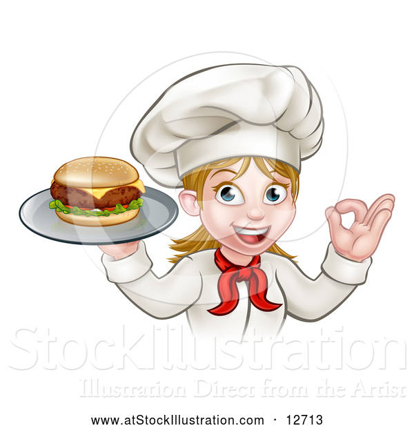 Vector Illustration of a Happy White Female Chef Gesturing Ok and Holding a Cheese Burger on a Tray