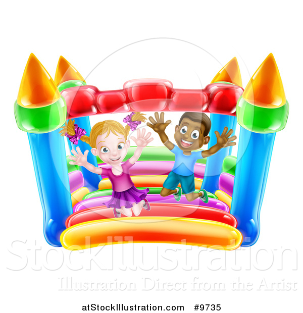Vector Illustration of a Happy White Girl and Black Boy Jumping on a Bouncy House Castle