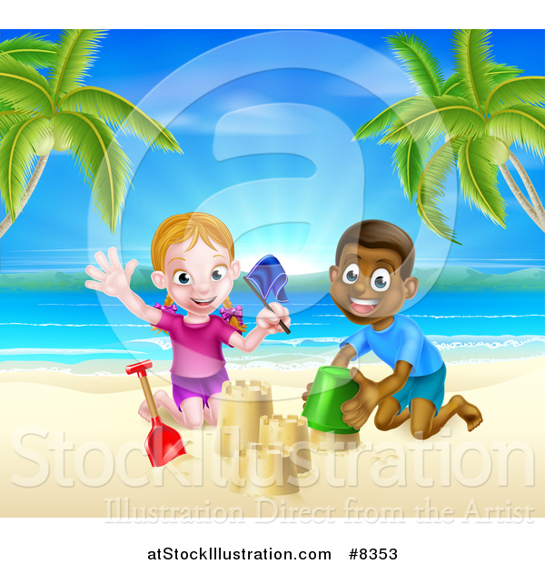 Vector Illustration of a Happy White Girl and Black Boy Playing and Making Sand Castles on a Tropical Beach
