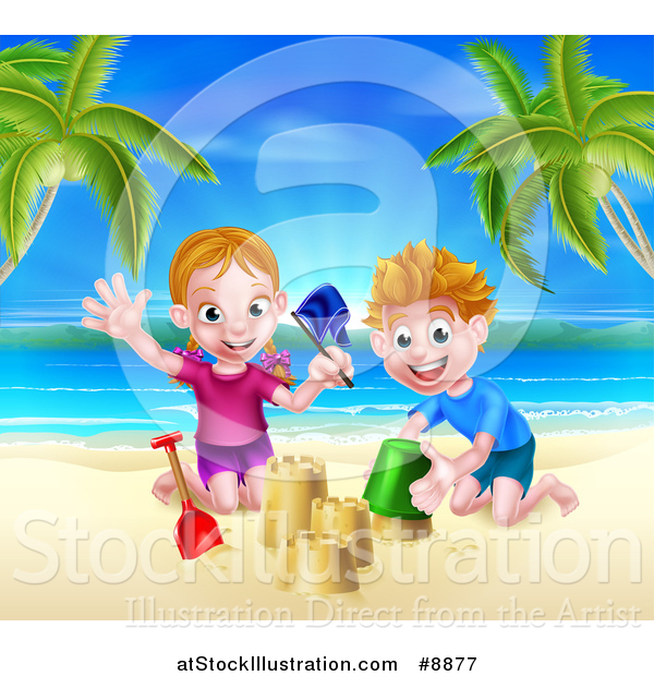 Vector Illustration of a Happy White Girl and Boy Playing and Making Sand Castles on a Tropical Beach