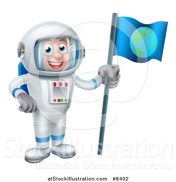 Vector Illustration of a Happy White Male Astronaut in a Space Suit, Holding an Earth Flag