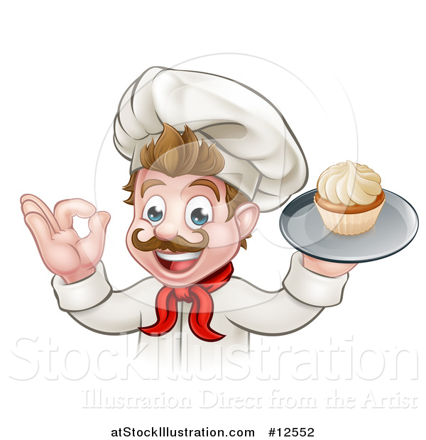 Vector Illustration of a Happy White Male Chef Baker Gesturing Ok and Holding a Cupcake on a Tray