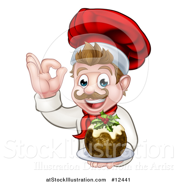 Vector Illustration of a Happy White Male Chef Gesturing Ok and Holding a Christmas Pudding