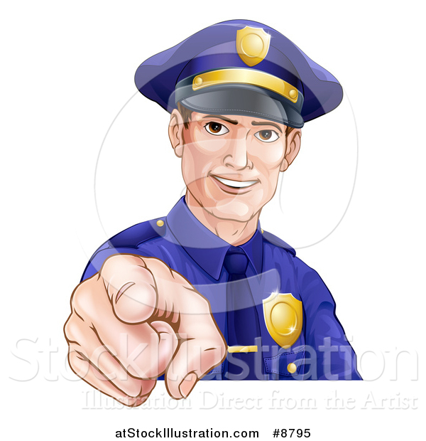 Vector Illustration of a Happy White Male Police Officer Pointing Outwards