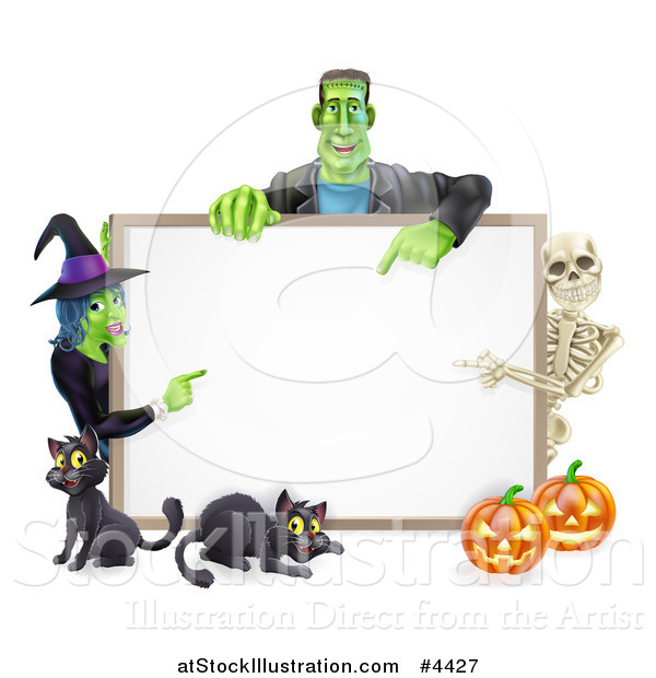 Vector Illustration of a Happy Witch Skeleton and Frankenstein Pointing to a White Board Sign over Pumpkins and Black Cats