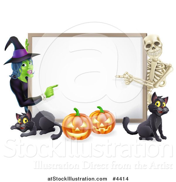 Vector Illustration of a Happy Witch Skeleton Pumpkins and Black Cats Around a Blank Sign