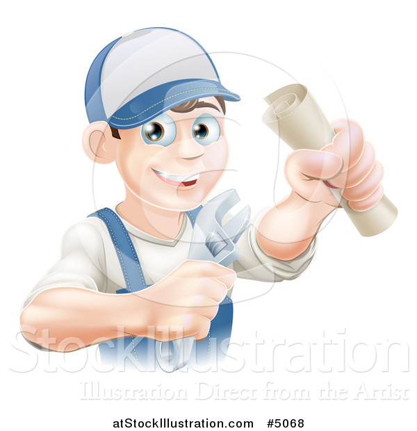 Vector Illustration of a Happy Worker Graduate Holding a Wrench and Degree