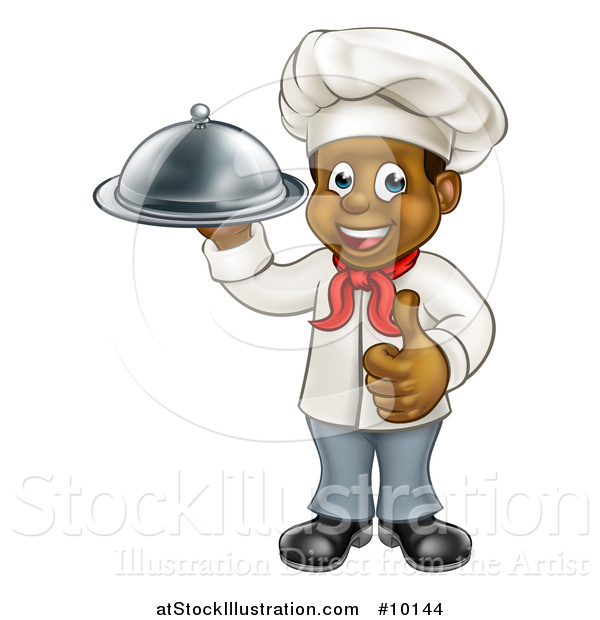 Vector Illustration of a Happy Young Black Male Chef Holding a Cloche Platter and Giving a Thumb up
