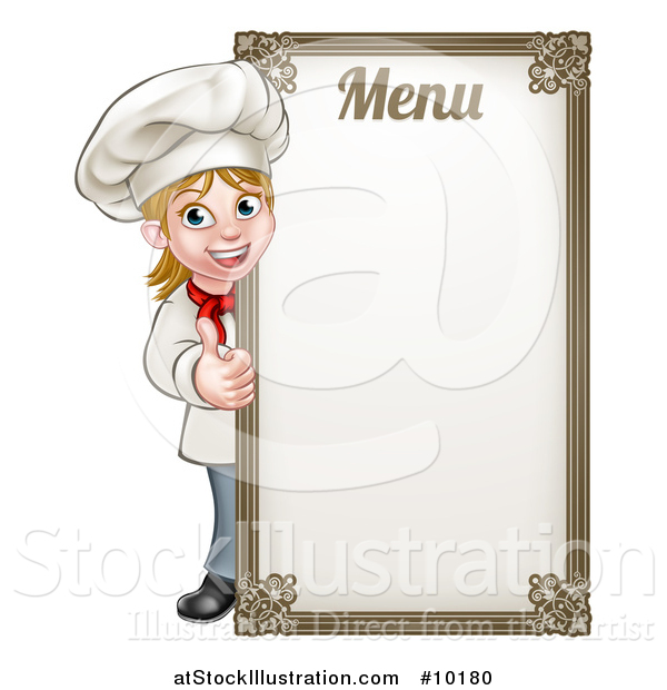 Vector Illustration of a Happy Young Blond White Female Chef Giving a Thumb up Around a Menu Board
