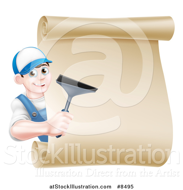 Vector Illustration of a Happy Young Brunette Caucasian Window Cleaner Man Holding a Squeegee Around a Scroll Sign