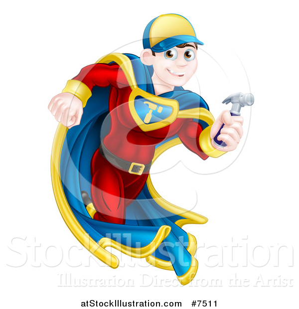 Vector Illustration of a Happy Young Male Brunette Caucasian Carpenter Worker Super Hero Running with a Hammer
