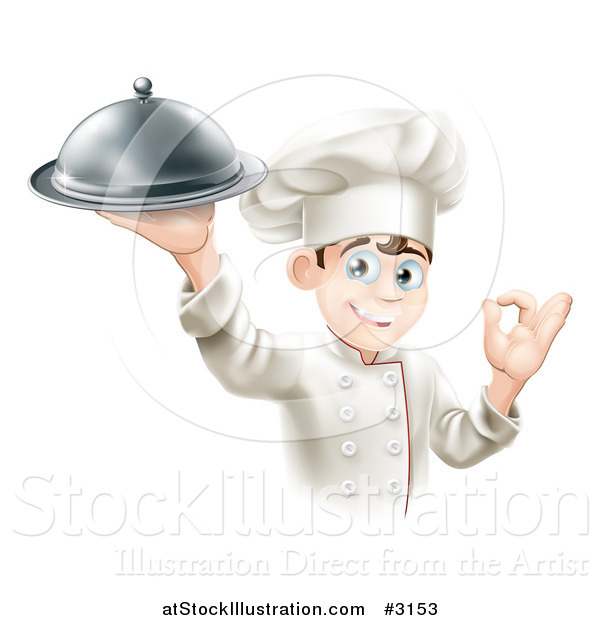 Vector Illustration of a Happy Young Male Chef Holding a Platter and Gesturing Ok