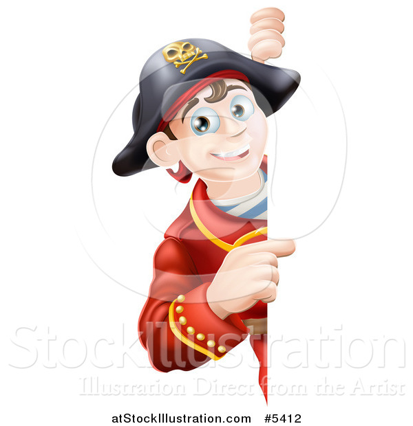 Vector Illustration of a Happy Young Pirate Captain Looking Around and Pointing to a Sign