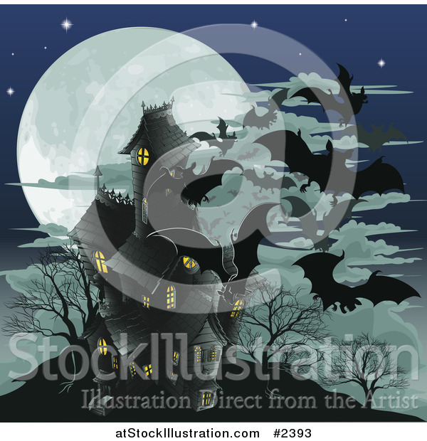 Vector Illustration of a Haunted Halloween House with Vampire Bats and a Full Moon