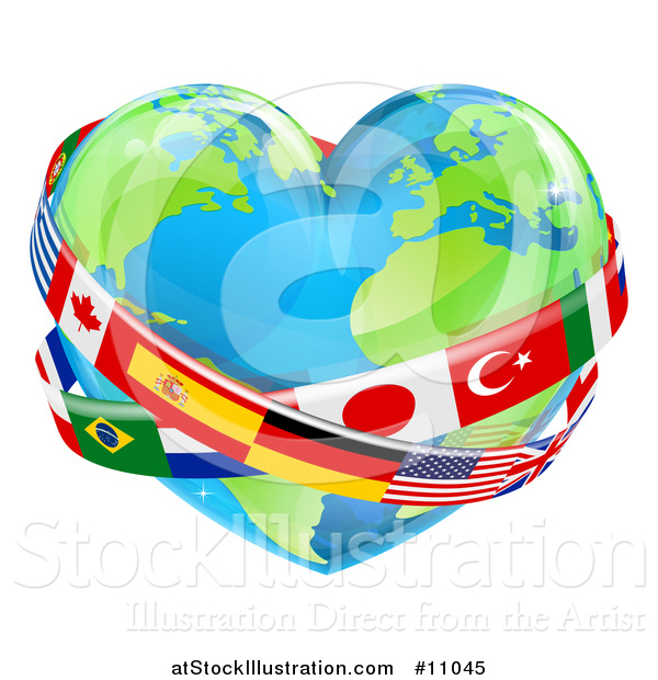 Vector Illustration of a Heart Earth Globe with National Flag Sashes