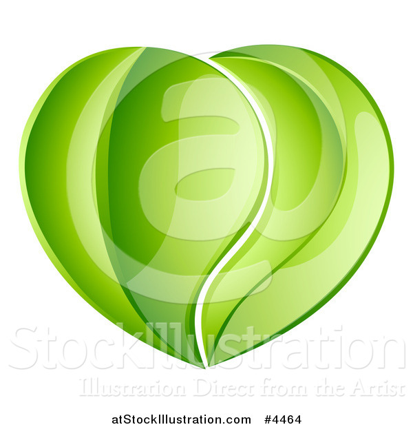 Vector Illustration of a Heart Made of Reflective Green Leaves