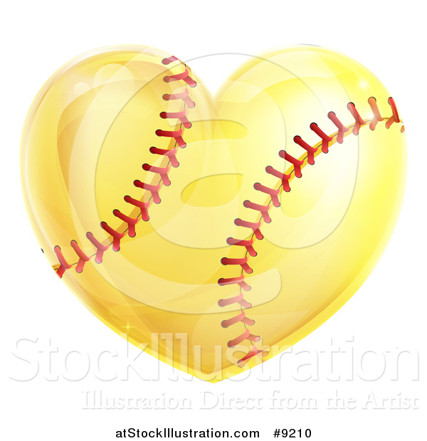 Vector Illustration of a Heart Shaped Softball