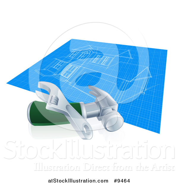 Vector Illustration of a Home Blueprints with a Wrench and Hammer