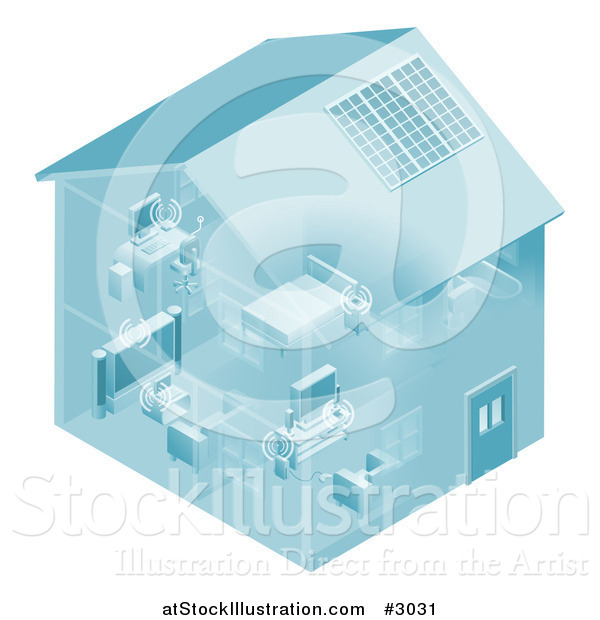 Vector Illustration of a Home Set up with a Local Area Network for Devices