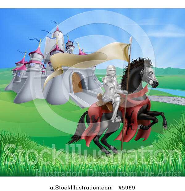 Vector Illustration of a Horseback Medieval Knight in Armor, Riding with a Banner in a Lush Landscape by a Castle