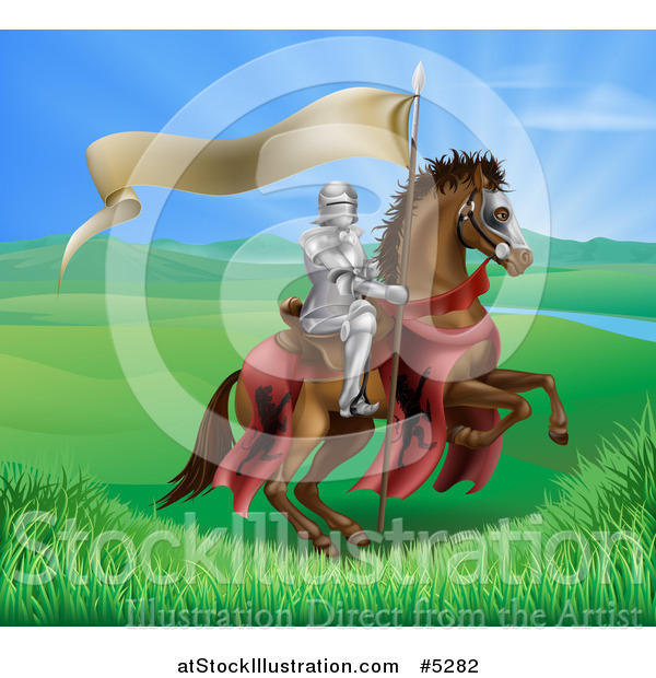 Vector Illustration of a Horseback Medieval Knight in Armor, Riding with a Banner in a Lush Landscape