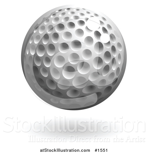 Vector Illustration of a Hovering Dimpled Golf Ball