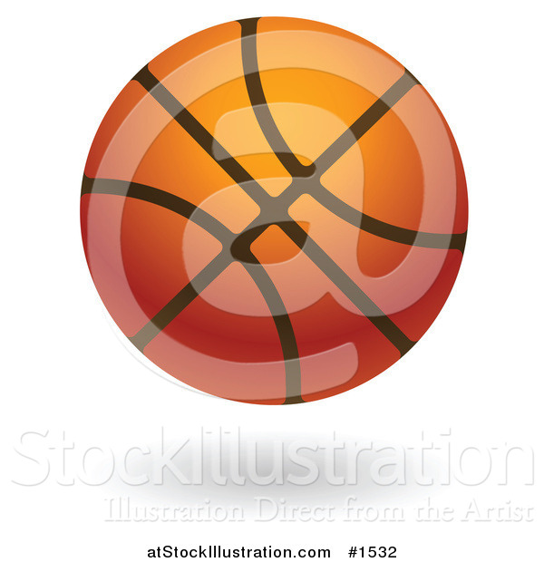 Vector Illustration of a Hovering Leather Basketball