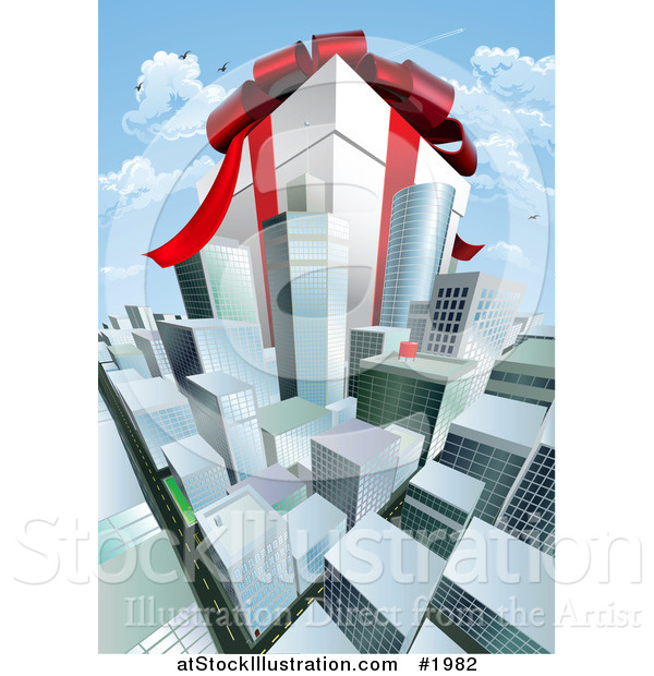 Vector Illustration of a Huge Present Within Cityscape