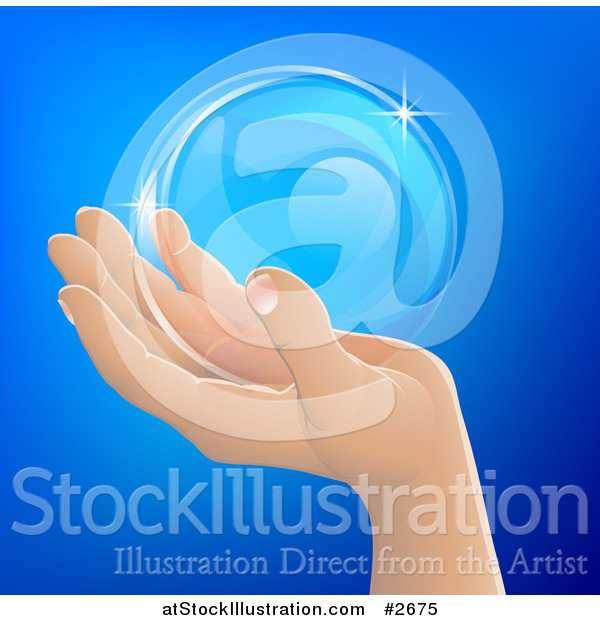 Vector Illustration of a Human Hand Holding a Bubble or Crystal Ball