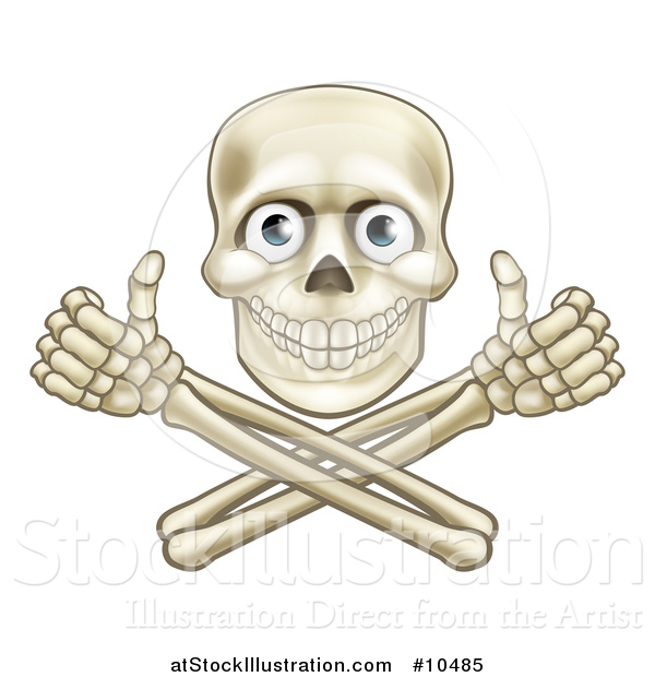 Vector Illustration of a Human Skull with Eyeballs, over Crossbone Arms Giving Thumbs up