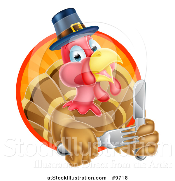 Vector Illustration of a Hungry Thanksgiving Turkey Bird Wearing a Pilgrim Hat and Holding Silverware