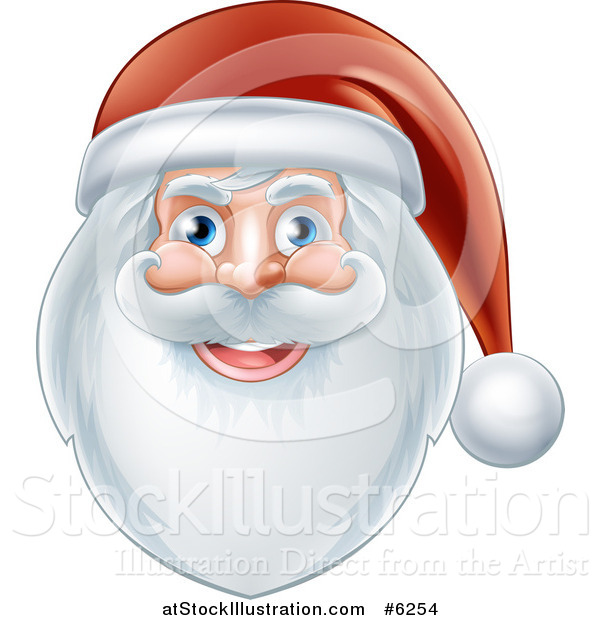 Vector Illustration of a Jolly Christmas Santa Face with a Beard and Hat